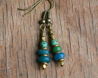 Ancient Djenne trade bead earrings with African turquoise