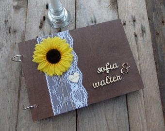 Guestbook Sunflower Wood Wedding, wedding book, wedding