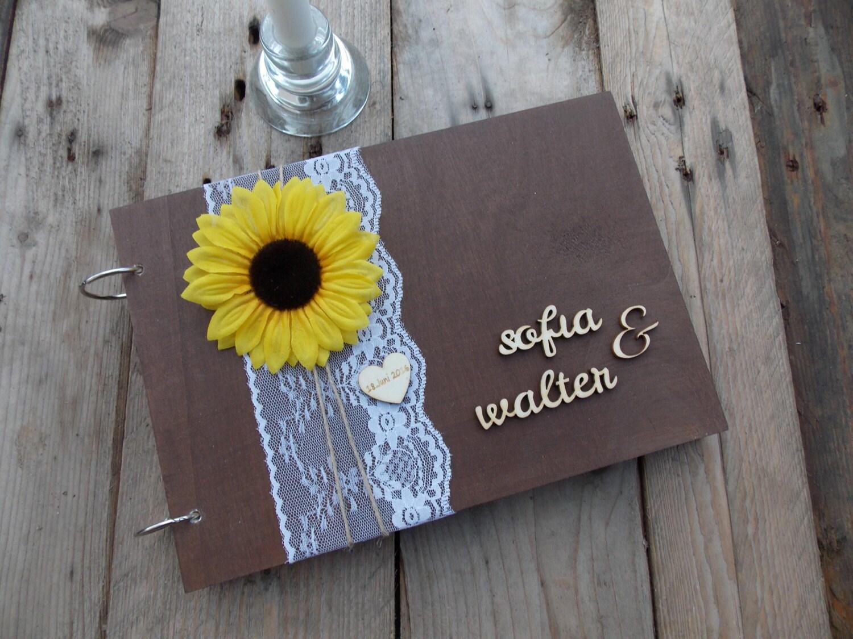 Sonnenblume Holz Hochzeit Hochzeitsbuch wedding