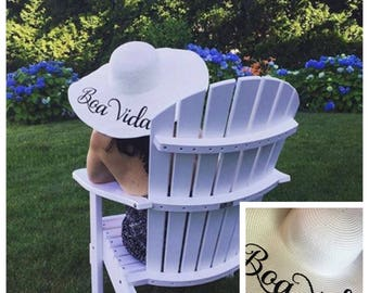 Custom FOLDABLE beach hats with name, monogram, saying with or without trim