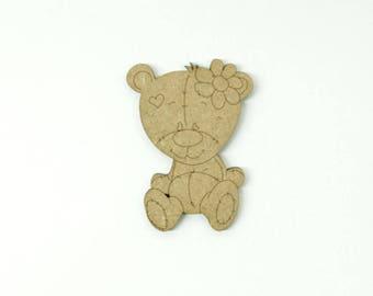 Teddy bear with flower made of medium size 5cm