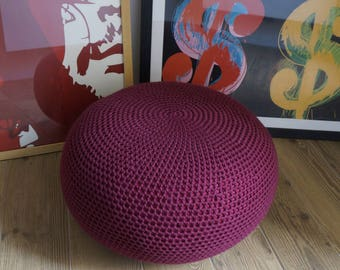 STUFFED Crochet Pouf , Poof, Ottoman, Footstool, Home Decor, Pillow, Bean Bag, Floor cushion