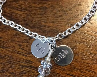 custom hand stamped initials small chain bracelet