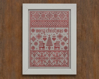 INSTANT DOWNLOAD Small Merry Christmas Sampler PDF counted cross stitch patterns by Modern Folk at thecottageneedle.com monochromatic