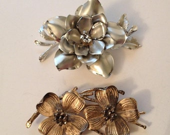 ON SALE Two vintage Metal Floral Flower Pins Brooches Signed -- Coro Fashion Jewelry