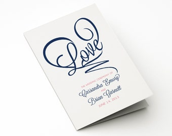 Heart Wedding Ceremony Program, Modern Order of Service LOVE Design, (NOT a Template, Completely Personalized Design w. Unlimited Revisions)