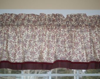 """Cream Red Black Floral Toile Valance 17"""" x 81""""  Can Alter Curtain Window Treatment"""