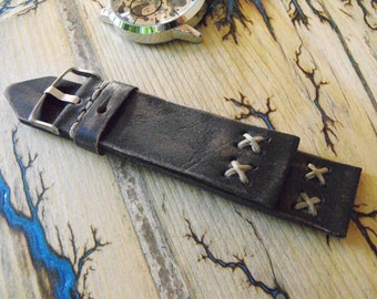 Retro Watch Band For Apple Watch 42mm 38mm Series 3/2/1 Rustic Watch Strap Black Leather Distressed Watchband