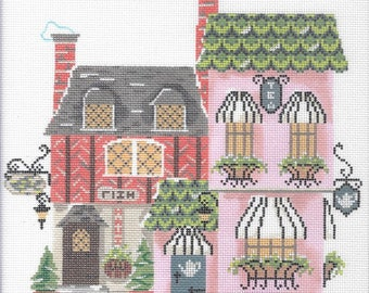 Needlepoint Handpainted KELLY CLARK Christmas Village Tea Cafe w/ Stitch Guide -Free US Shipping!!!