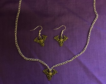 Halloween Vampire Bat Necklace & Earrings Set