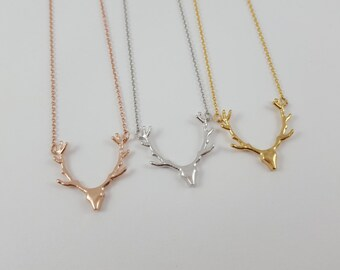 Deer Necklace | Antler Jewelry | Silver | Gold | Rose Gold | Deer Head | Antler Head | Reindeer | Hunting Necklace | Rustic