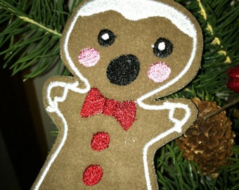 "Embroidered ""Bitten"" Gingerbread Man Ornament or Gift Tag"