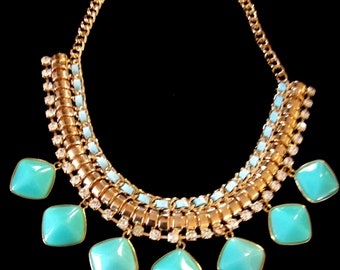 Aqua Lucite and Rhinestone Goldtone Necklace