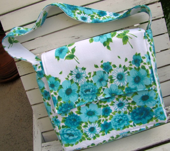 Vintage Tablecloth Upcycled Messenger Bag