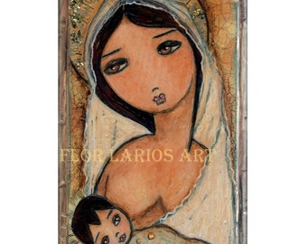 Mother and Child - Maternity -  Folk Art  PRINT from Painting (4 x 6  inches Print) by FLOR LARIOS