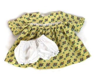 Puppenkleid & Höschen Gelb Calico rosa blau weiß Spitze Prärie Blumen Bitty Twin Baby 14, 16-Zoll-Baby Puppe--US Versand enthalten