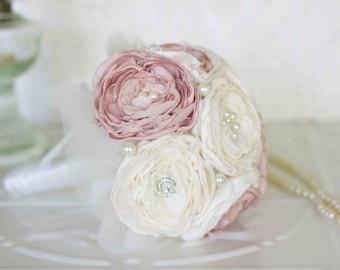 Fabric Flower and Brooch Wedding Toss Bouquet, Ivory and Pink Toss Bouquet, Throw Bouquet, Prom Bouquet
