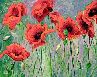Red Poppies, 8 x 10 in., giclee print