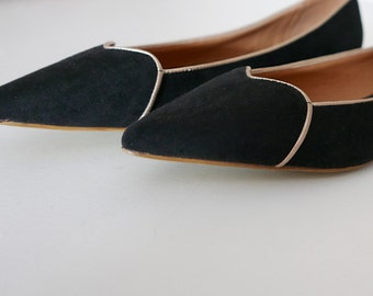 Vintage shoes black leather & fabric size 39 Made in Italy OOAK