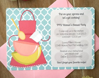 Cooking party invitation, child cooking birthday party, kitchen bridal shower invitation, bake party, retro kitchen cooking class SET of 10