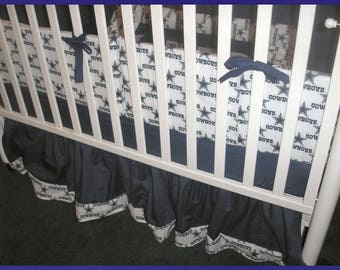 New NFL DALLAS COWBOY 7 piece  Custom Made crib bedding set