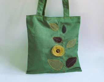 Green canvas bag, flower tote, leaf bag, fabric tote bag, floral shoulder