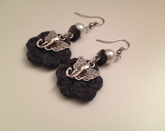 Fabric and silver earrings
