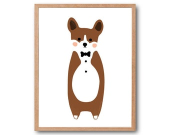 Baby Nursery Decor, Baby Corgi Art Print, Dog Art Print, Children Room Decor, Dog Lover Gift, Corgi Gifts, Baby Animal, Animal Illustration
