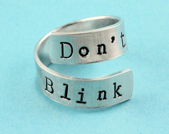 Don't Blink Ring - Adjustable Ring - Twist Ring - Wrap Ring - Doctor Ring - Fandom Ring - Who Ring - Silver Ring - Fan Ring - Whovian Ring