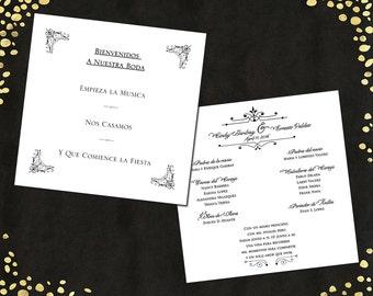 Spanish Funny Wedding Program Spanish Wedding Program Humorous Spanish Wedding Program