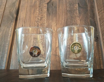 Handmade Bullet Square Whiskey Glass, 12GA, Winchester or Remington, Whiskey Glasses, Bullet Glasses, Bullet Home Bar Decor, Fathers Day