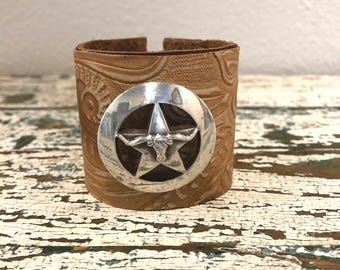 Hand Tooled Leather and Star Longhorn Cuff Bracelet