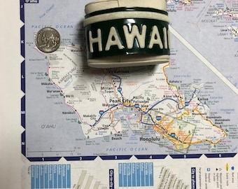 Hawaii Vintage Recycled License Plate Bracelet