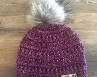 Crochet Mountain Ridge Pom Pom hat