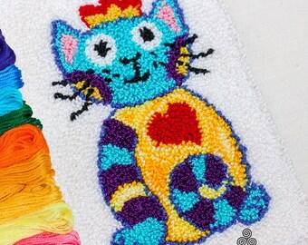Punch Needle Embroidery DIGITAL PDF PATTERN, Princess Kitty by Colleayn Klaibourne