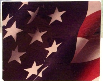 AMERICAN FLAG NightLight - Decoupage Stained Glass Night Light ST3