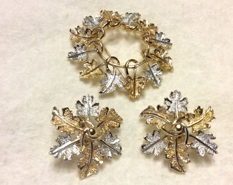 Sarah Coventry gold and silver leaves brooch clip on earrings set. Free ship to US