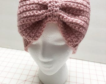 Knit Bow Headwrap, Dusty Pink Headband, Ear Warmer, Fall,Winter, Christmas Gift, Gift For Her