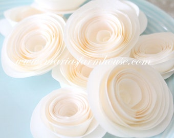 PAPER ROSES, Handmade Paper Roses, Bridal or Baby Shower Decor, Little Princess Birthday Party Decor
