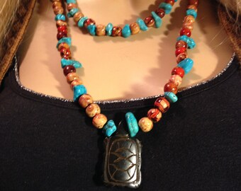 SANTE FE COLLECTION,  #57  Southwest Turtle Traditional Statement 2 Row Necklace with Turtle Focal Point