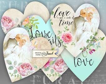 Love Lives Here - digital collage sheet - set of 6 hearts - Printable Download