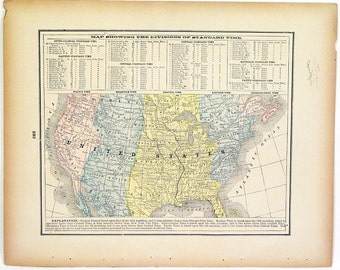 Original 1890s Color Atlas Map of The United States by George F. Cram Color Map Showing Divisions of Standard Time in The United States