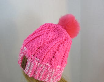 winter hat,with faux fur pompom,ski hat , cable stitch,womens, teen ,double brim,pink,textured handmade hat ,cap,beanie ,tossle cap