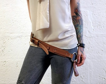 Unisex Leather Belt - Brown - steampunk - burning man - festivals - bushcraft - apocalypse, Please read Description for size