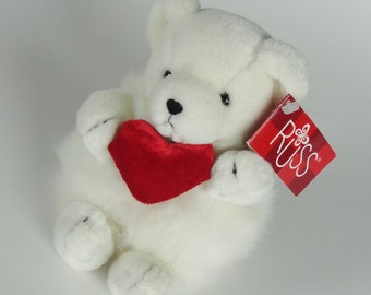 1 Vintage WHITE BEAR Plush Stuffed Animal Toy - SMOOCH - Collectible Russ Berrie Luv Pets Toy, Cute Fuzzy Bear, Anniversary Gift, Mom gift