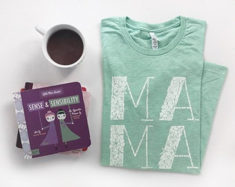 Mama Graphic Tee, Floral Mama T-shirt, Typography, Mom Life, Illustration and Lettering, Unisex T-shirt