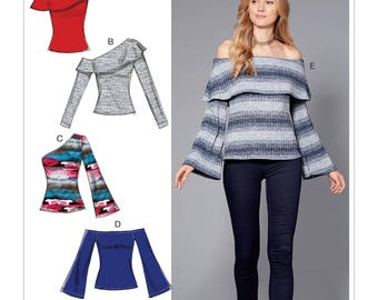 Sewing Pattern for Misses' Off-The-Shoulder Knit Tops, McCall's Pattern 7686, New Pattern, Off Shoulder Tops, One Shoulder Top, Women's Tops