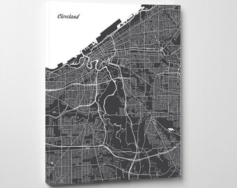 Cleveland Street Map Print Map of Cleveland City Street Map Ohio Poster Wall Art 7119P