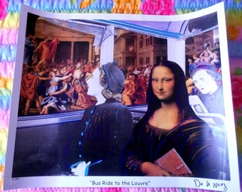 Bus Ride to the Louvre by De La Nuez Signed & Numbered Print Mona Lisa