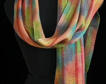Handwoven Scarf Soft Hand Dyed Scarf Wrap Shawl Gift for Her Bamboo Scarf Long Scarf Colorful Scarf Fiber Art Unique - Autumn Burst